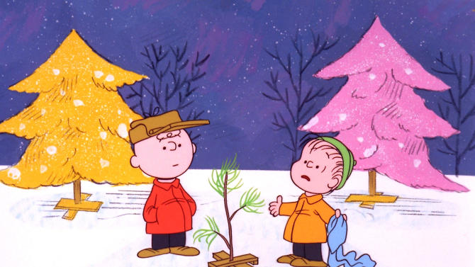 """FILE - In this file image originally provided by United Feature Syndicate Inc. VIA ABC TV, Charlie Brown and Linus appear in a scene from """"A Charlie Brown Christmas,"""" a television special based on the """"Peanuts"""" comic strip by Charles M. Schulz. """"Peanuts,"""" the first full-length CG-Animated film based on Schulz's comic strip, which ran from October 1950 to February 2000, will hit theaters November 6, 2015. The beloved pair's updated look is shown off in a new trailer for the film, to be released by Blue Sky Studios, 20th Century Fox's animation house. (AP Photo/ABC, 1965 United Feature Syndicate Inc., File) **NO SALES** **MANDATORY CREDIT: United Feature Syndicate Inc. **"""
