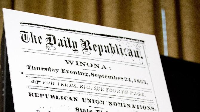 A Sept. 24, 1863, announcement from the The Daily Republic, is exhibited during a news conference attended by native Americans, lawmakers, and civil rights leaders on Capitol Hill in Washington, Tuesday, Sept. 16, 2014, to pressure the Washington Redskins football team to change their name.   (AP Photo/Manuel Balce Ceneta)