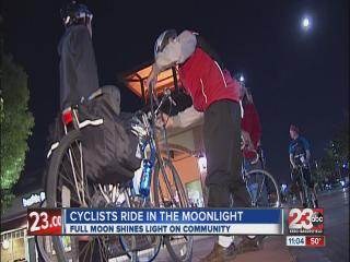Local cyclists take advantage of full moon