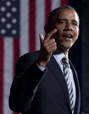 President Barack Obama speaks at a campaign event at Chicago Cultural Center, Friday, June 1, 2012, in Chicago. (AP Photo/Carolyn Kaster)