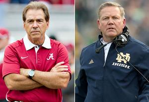 Nick Saban, Brian Kelly  | Photo Credits: Wesley Hitt/Getty Images; Jonathan Daniel/Getty Images