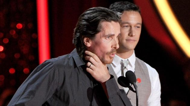 Christian Bale and Joseph Gordon-Levitt speak onstage during the 2012 MTV Movie Awards held at Gibson Amphitheatre in Universal City, Calif. on June 3, 2012 -- Getty Images