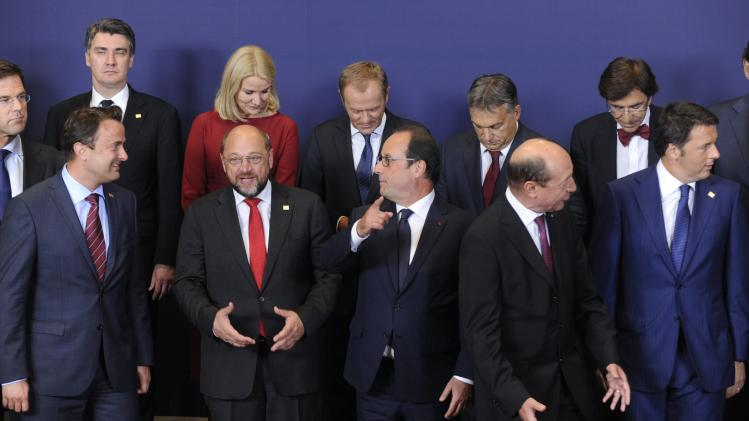 European Union leaders take part in a group photo at during European Union summit in Brussels