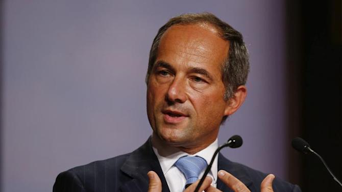 French bank Societe Generale Chairman and CEO Oudea speaks during the annual meeting of the German business newspaper Handelsblatt in Frankfurt