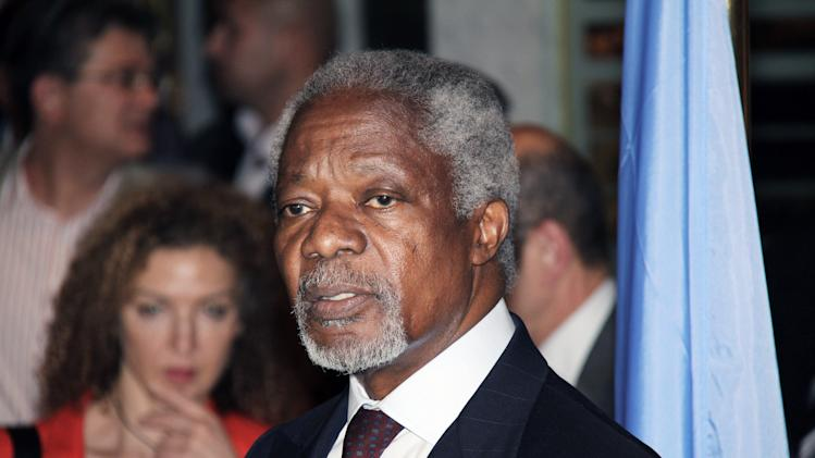 UN-Arab League Joint Special Envoy for Syria (JSE) Kofi Annan, speaks during a press conference after his arrival in Damascus, Syria, Monday, May 28, 2012. Annan, arrived in Damascus on Monday for talks with Syrian President Bashar Al-Assad. (AP Photo/Bassem Tellawi)