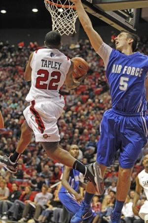 Tapley leads No. 16 SDSU over Air Force, 57-44