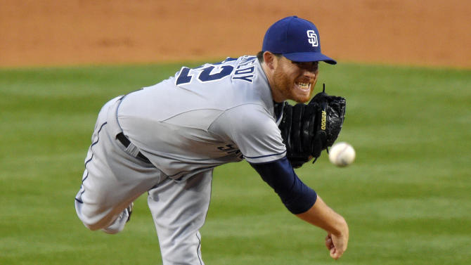 San Diego Padres starting pitcher Ian Kennedy throws to the plate during the second inning of a baseball game against the Los Angeles Dodgers, Saturday, May 23, 2015, in Los Angeles. (AP Photo/Mark J. Terrill)