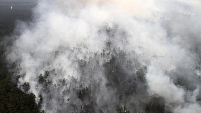 A forest fire is seen from a helicopter belonging to Indonesia's National  Disaster Management Agency (BNPB) in Tulung Selapan district, South Sumatra