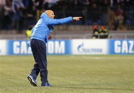 Zenit St Petersburg's coach Luciano Spalletti reacts during the Champions League soccer match against Atletico Madrid at the Petrovsky stadium in St. Petersburg
