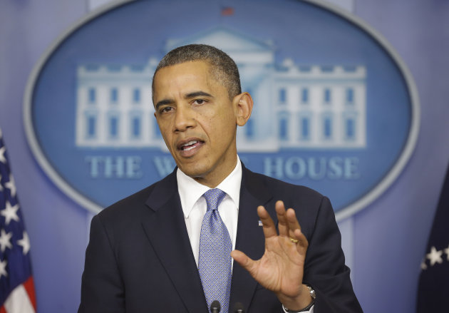 President Barack Obama speaks in the White House Briefing Room in Washington, Monday, Oct. 29, 2012, after returning to the White House from a campaign stop in Florida to monitor Hurricane Sandy. (AP Photo/Pablo Martinez Monsivais)