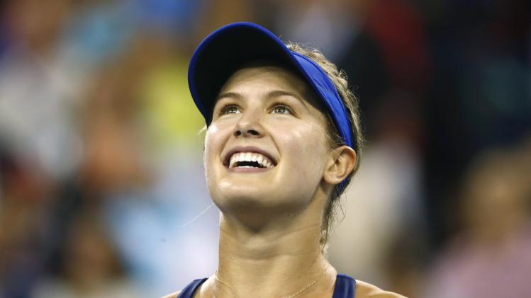 Eugenie Bouchard of Canada looks up at the crowd after defeating Barbora Zahlavova Strycova of the Czech Republic after their women's singles match at the 2014 U.S. Open tennis tournament in New York