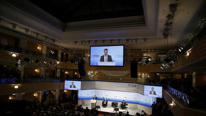 Russian Prime Minister Medvedev delivers a speech at the Munich Security Conference in Munich