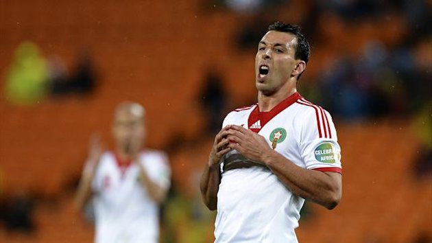 Morocco's forward Mounir El Hamdaoui reacts during the Morocco vs Angola CAN2013 football match at Soccer City in Soweto (AFP)