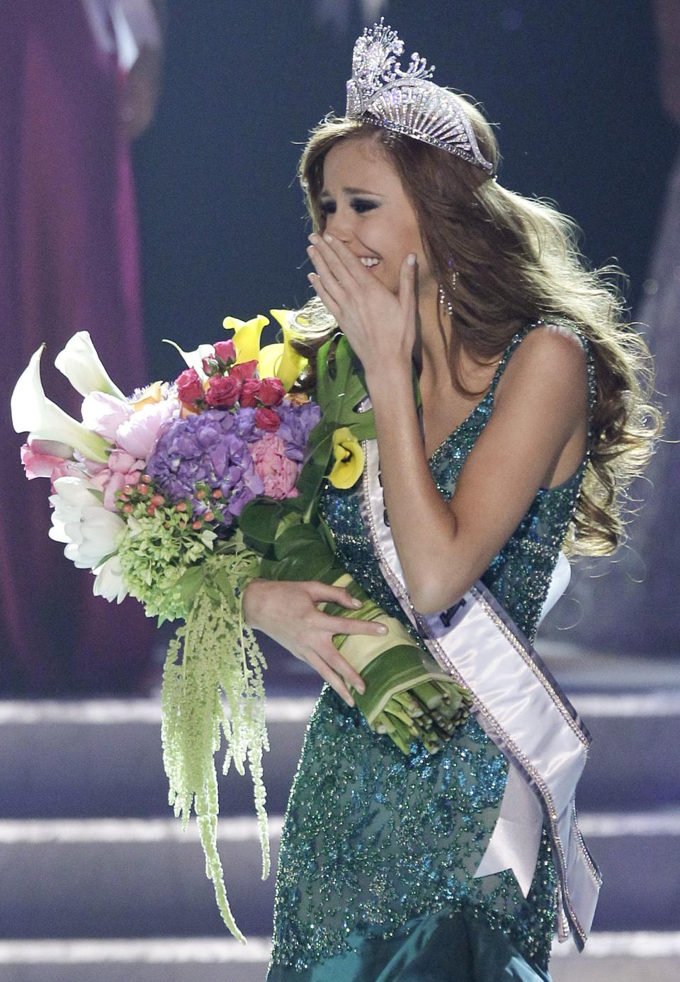 Alyssa Campanella, Miss California, reacts after being crowned the 2011 Miss USA, Sunday, June 19, 2011, in Las Vegas. (AP Photo/Julie Jacobson)