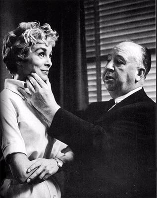 Janet Leigh and Alfred Hitchcock on the set of Paramount's Psycho