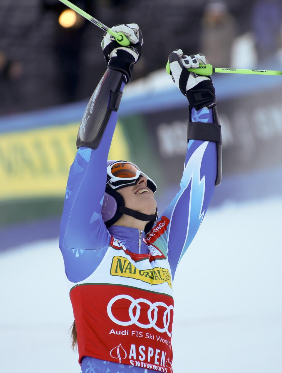 CORRECTS DATE - Tina Maze from Slovenia, reacts in the finish arena after winning the women's World Cup giant slalom race in Aspen, Colo., on Saturday, Nov. 24, 2012.  (AP Photo/ Nathan Bilow)