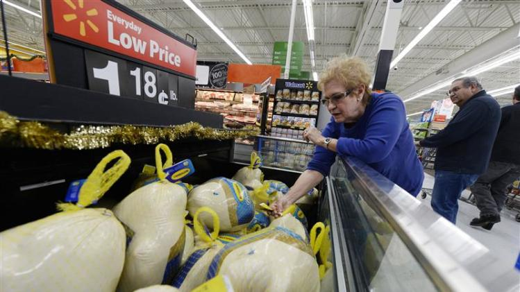 A customer shops for turkey at a Walmart store in the Porter Ranch section of Los Angeles