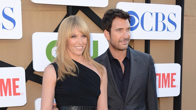 Toni Collette, left, and Dylan McDermott arrive at the CBS, CW and Showtime TCA party at The Beverly Hilton on Monday, July 29, 2013 in Beverly Hills, Calif. (Photo by Jordan Strauss/Invision/AP)