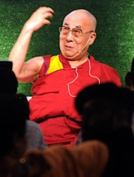 The Dalai Lama delivers a speech during World Compassion day in Mumbai on November 28, 2012. The Dalai Lama, who says he is not seeking Tibetan independence but greater autonomy, fled his homeland in 1959 after a failed uprising