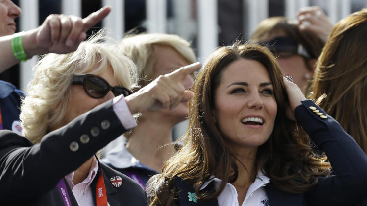 Camilla, Duchess of Cornwall, and Britain's Catherine, Duchess of Cambridge