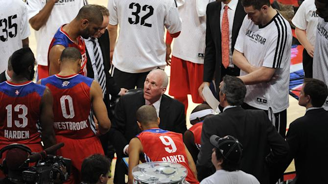 West coach Gregg Popovich of the San Antonio Spurs talks to his team during the first half of the NBA All-Star basketball game Sunday, Feb. 17, 2013, in Houston. (AP Photo/Pat Sullivan)