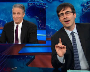Jon Stewart Surprises John Oliver With 'The Daily Show' Retrospective As He Heads To HBO: Video