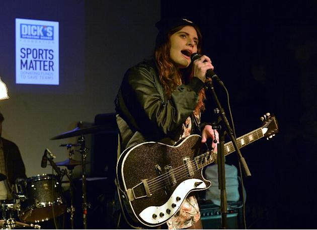 "IMAGE DISTRIBUTED FOR DICK'S SPORTING GOODS FOUNDATION - Bethany Cosentino from Best Coast sings at the DICK'S Sporting Goods Foundation ""Sports Matter"" launch party during SXSW in A"