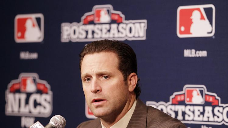 St. Louis Cardinals manager Mike Matheny answers questions during a news conference Saturday, Oct. 20, 2012 in San Francisco. The Cardinals face the San Francisco Giants in Game 6 of the National League championship baseball series Sunday. (AP Photo/Ben Margot)