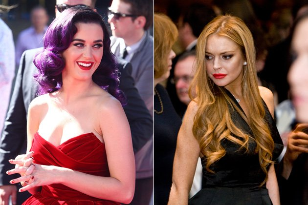 J&#xfc;nger schminken? Davon haben Katy Perry und Lindsay Lohan offenbar noch nichts geh&#xf6;rt (Bilder: Getty Images)