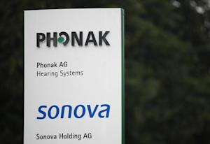 Logo of Phonak hearing devices and Swiss hearing aid maker Sonova are pictured at the company's headquarters in Staefa