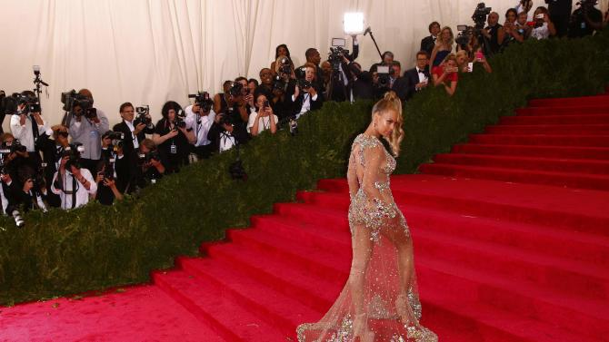 "Beyonce arrives at the Metropolitan Museum of Art Costume Institute Gala 2015 celebrating the opening of ""China: Through the Looking Glass,"" in Manhattan"