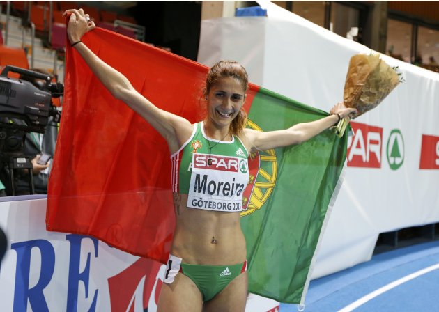 Moreira of Portugal celebrates her victory in the 3000m Women Final at the European Athletics Indoor Championships in Gothenburg