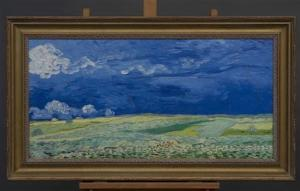 "Handout of a copy of the Vincent Van Gogh painting ""Wheatfield under Thunderclouds"" (1890) provided by the Van Gogh Museum in Amsterdam"