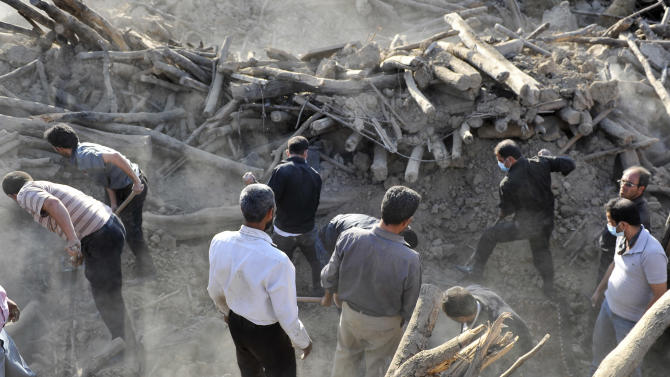 Iranians search the ruins of buildings at the village of Bajebaj near the city of Varzaqan in northwestern Iran, on Sunday, Aug. 12, 2012, after Saturday's earthquake. Twin earthquakes in Iran have killed at least 250 people and injured over 2,000, Iranian state television said on Sunday, after thousands spent the night outdoors after their villages were leveled and homes damaged in the country's northwest. Iran is located on seismic fault lines and is prone to earthquakes. It experiences at least one earthquake every day on average, although the vast majority are so small they go unnoticed. (AP Photo/ISNA, Arash Khamoushi)
