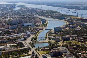 File photo of aerial view of Russia's southern city of Astrakhan