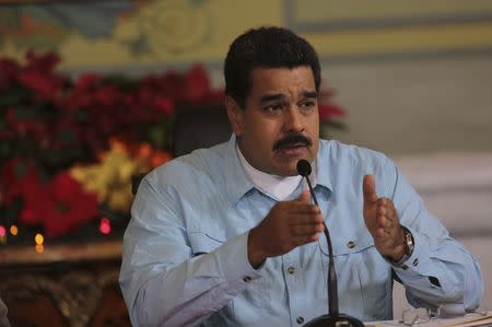 Venezuela's President Nicolas Maduro speaks during a meeting with governors and ministers at Miraflores Palace in Caracas