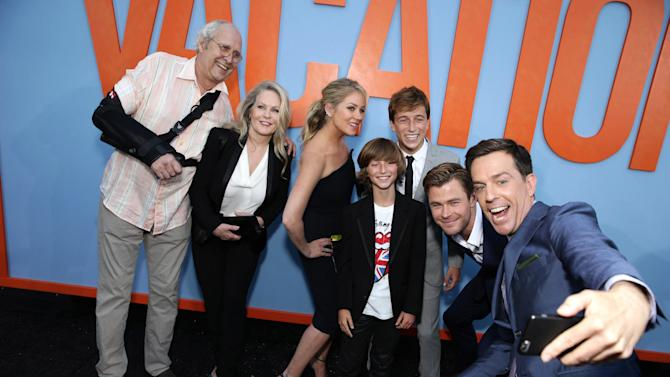 """Chevy Chase, Beverly D'Angelo, Christina Applegate, Steele Stebbins, Skyler Gisondo, Chris Hemsworth and Ed Helms seen at the New Line Cinema presents the Premiere of """"Vacation"""" held at Regency Village Theatre on Monday, July 27, 2015, in Westwood, Calif. (Photo by Eric Charbonneau/Invision for Warner Bros./AP Images)"""