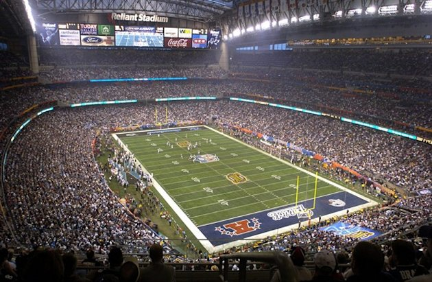 FILE - In this Feb. 1, 2004 file photo,Houston's Reliant Stadium hosts a sellout crowd at Super Bowl XXXVIII between the Carolina Panthers and the New England Patriots in Houston. NFL owners will vot