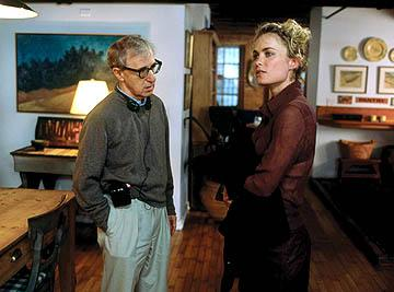 Radha Mitchell and director Woody Allen on the set of Fox Searchlight's Melinda and Melinda