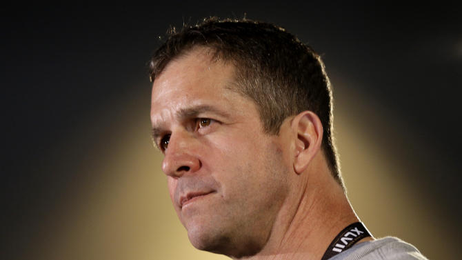 Baltimore Ravens head coach John Harbaugh speaks at an NFL Super Bowl XLVII football news conference on Wednesday, Jan. 30, 2013, in New Orleans. The Ravens face the San Francisco 49ers in Super Bowl XLVII on Sunday, Feb. 3. (AP Photo/Patrick Semansky)