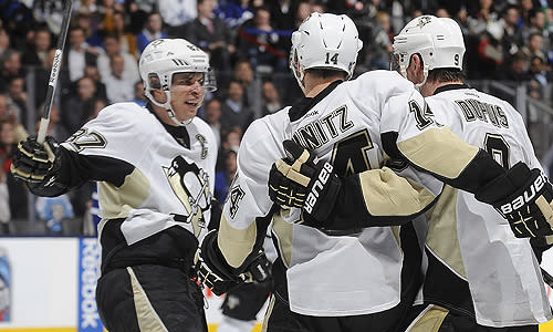 Pittsburgh Penguins' linemates Sidney Crosby, Chris Kunitz and Pascal Dupuis