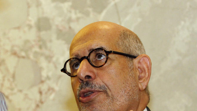 "Former Director General of the International Atomic Energy Agency, IAEA, and Nobel Peace Prize winner Mohamed El Baradei speaks to media in Vienna, Austria, Thursday May 24, 2012. As Egyptians chose their first democratically elected president, reform leader ElBaradei says who wins is less important than establishing national unity. He told The Associated Press that choice between reformist, Islamist or pragmatist pales behind getting Egyptians to agree ""on the basic common values that they're going to live under."" (AP Photo/Ronald Zak)"