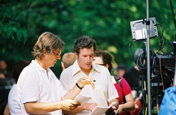 Director Lasse Hallstrom and Richard Gere on the set of Miramax Films' The Hoax