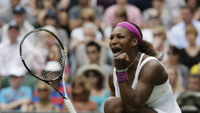 Serena Williams of the United States reacts during a second round women's singles match against Melinda Czink of Hungary at the All England Lawn Tennis Championships at Wimbledon, England, Thursday, June 28, 2012. (AP Photo/Anja Niedringhaus)