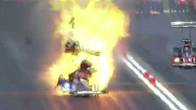 Explosion rocks dragster going over 300mph
