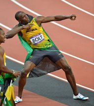 Usain Bolt et sa fameuse gestuelle  la fin de sa finale aux JO 2012