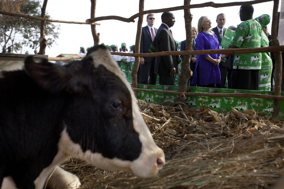 U.S. Secretary of State Hillary Rodham Clinton, right, visits Lumbadzi Milk Bulking Group in Lilongwe, Malawi, on Sunday, Aug. 5, 2012, on the first ever visit to Malawi by a U.S. Secretary of State.  (AP Photo/Jacquelyn Martin, Pool)