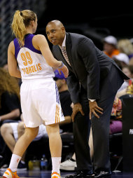 Phoenix Mercury head coach Corey Gaines, right, talks with Samantha Prahalis during the first half of a WNBA basketball game against the Minnesota Lynx, Wednesday, June 19, 2013, in Phoenix. (AP Photo/Matt York)