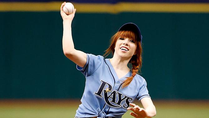 Whoops! Carly Rae Jepsen Loses Control of Her First Pitch at a Rays Game
