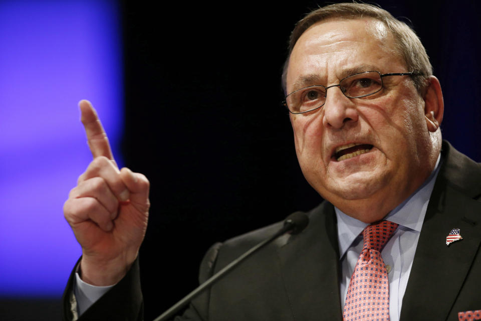 FILE  - In this Jan. 7, 2015 file photo, Maine Gov. Paul LePage delivers his inauguration address after taking the oath of office for his second term ...